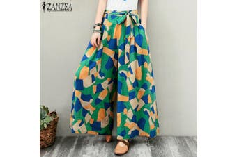 ZANZEA Elastic Waist Casual Check Print Long Pants Wide Legs Baggy Trouser For Women(green)(3XL)