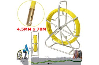 Telstra NBN 4.5mm x 70 mts Fiberglass Cable Snake Fish Rodder Puller Flexi Lead Yellow(yellow)(70m by 4.5mm)