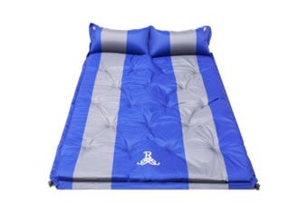 Details about Double Self Inflating Pad Sleeping Mattress Air Bed Camping Hiking Mat Thicken 4(blue)(Blue and grey)