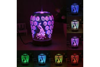 100ml Aromatherapy Essential Oil Diffuser Electric Heating Air Humidifier Peacock Pattern 7 Colors Changing LED Home Night Light(6)