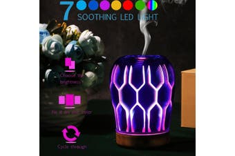 3D LED Glass Ultrasonic Aroma Mist Diffuser Essential Humidifier Aromatherapy(3)