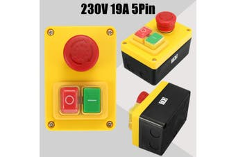 230V 19A 5 Pin NVR Switch Emergency Stop Push Button ON/OFF for Lathe Mill drill(multicolor)(230V)