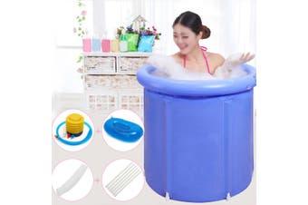 70x70cm Foldable Bathtub Portable Plastic Tub Water Room Spa Massage Bath Barrel(blue)(70x70cm)