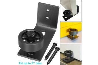 Wall Mount Floor Guide Barn Door Hardware Stay Roller Powder Coated with Screws(black)(4)
