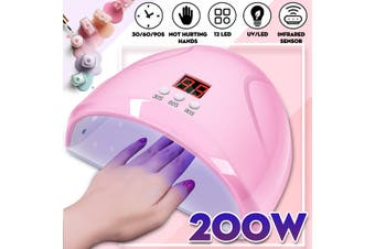 Professional 200W 12LED UV/Sunlight Nail Dryer Lamp Gel Polish Curing Machine(white)(With Bottom)