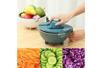 9IN1 Magic Multifunctional Rotate Vegetables Cutter With Drain Basket Kitchen Veggie Fruit Shredder Grater Slicer(white)(Drain Basket with 8 Blades)
