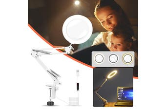LED Makeup Mirror USB 5x Zoom Magnifying with 360 Degree Rotation and Light Switch Dimmable , Metal Swing Arm Clamps Clip for Home Tabletop Table Bathroom(44 cm)