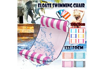 Portable Swimming Pool Toy Hammock Lounge Inflatable Water Floating Bed Chair(pink)(132x70cm Single Bed)