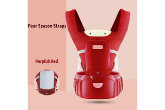 Infant Baby Newborn Carrier W/ Hip Seat Stool Adjustable Wrap Sling Backpack Four Season-Purplish Red(red)
