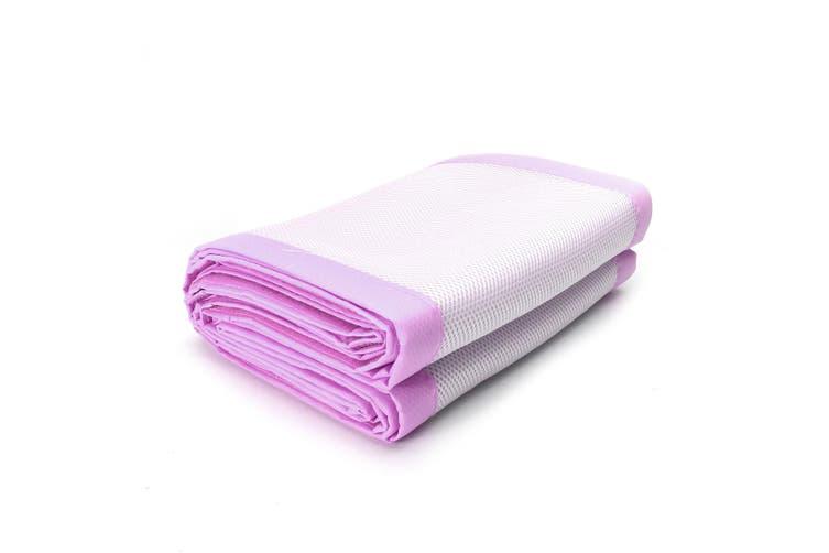 2Pcs Baby Bumper Cot Crib Air Mesh Pad Breathable Nursery Bedding Protective Set #pink(pinkpurple)
