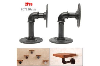 2x Industrial Pipe Shelf Brackets Bookcases Holder for Steampunk Rustic Decor(2Pcs)