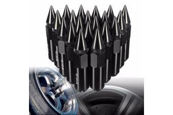 ALUMINUM 60MM EXTENDED TUNER LUG NUTS WHEELS/RIMS Black(black)(M12x1.5)