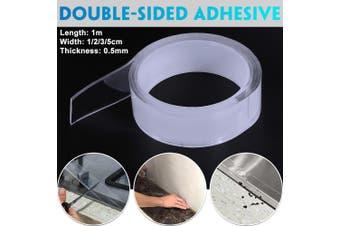 1m Length Magic Tape Washable Double-sided Adhesive Nano Gel Acrylic Foam Tape Transparent 1/2/3/5cm(Width1CM Length1m)