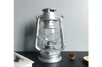 Vintage Oil Lamp Lantern Kerosene Paraffin Hurricane Lamp Light Outdoor Camping(silver)