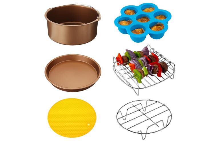 """6Pcs 7"""" Air Fryer Accessories Set BBQ Pizza Baking Pan Tray Fit 3.2-6.8QT(gold)(7Inch 6IN1 Set)"""