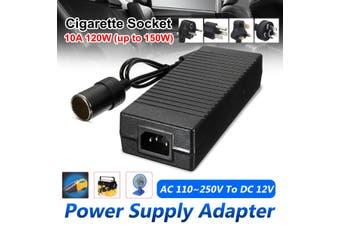 Power Supply Adapter Car Cigar Lighter 10A 120W DC100V-250V To 12V Cable !(black)(AU Plug 10A 120W)
