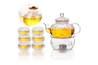 600ml Pumpkin 6 Cups+Taepot+Warmer Clear Tea Double Wall Glass Pot Infuser Set(Tea Pot Set)