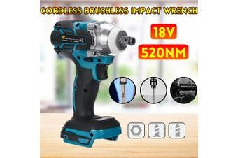 """520N.M 1/2"""" Torque Impact Wrench Brushless Cordless Electric Wrench Drill Tool(blue)(Type B Impact Drill)"""