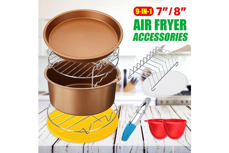8inch 9PCS Air Fryer Accessories Airfryer Chips Baking Pan Set For 3.2-6.8QT(7 Ineches)
