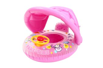 Sunshade Baby Kids Float Seat Boat Inflatable Swim Swimming Ring Pool Water Fun(pink)(With Canopy)