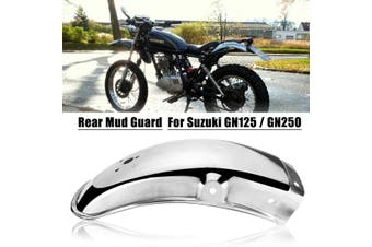 Stainless Steel Motorcycle Rear Fender Flares Mud Flaps Mudguard Splash Guard for Suzuki GN125/GN250(silver)