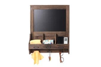 Shabby Chic Blackboard Vintage Chalk Board Wooden Notice Hooks Post Key Storage Coffee(coffee)