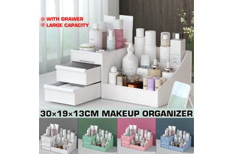 2020 Dressing Box Cosmetic Organizer Makeup Organizer Transparent Desktop Large-Capacity Drawer Integrated Skin Care Products Lipstick Makeup Storage Box(pink)(Normal quality)