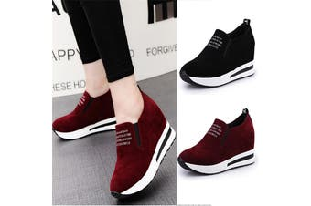 Womens Leisure Platform Hidden Wedge Heels Slip on Sneakers Shoes Sports Shoes(red)(US8 EU39)