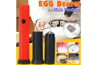 【Battery-operated】(BLK/RED) Mini Electric Handheld Mixer Portable Egg Beater Milk Frother Foam Cream Maker Drink Foamer Hand Whisk Tool Stirring Mixer For Coffee Art Kitchen Baking(red)(Without head)