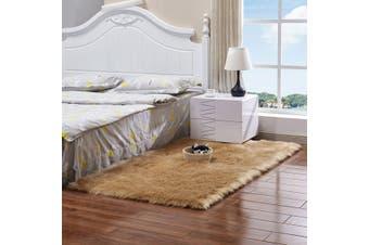 Super Soft Extra Large Fur Floor Mat Faux Wool Sheepskin Rugs Fluffy Plush Rug Carpet(Khaki)