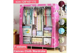 6 Shelves Closet Organizer Wardrobe Rack Clothes Shelf Storage Cabinet Cupboard(pink)(Pink with Sun)