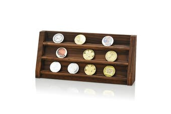 Wooden Challenge Collectible Coins Holder Display Rack Stand Case Shelf