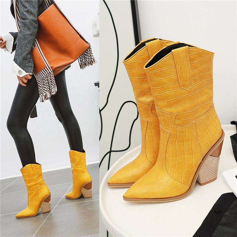Womens Western Cowboy Mid Calf Chunky Pull On Shoes Pointed Toe High Hee