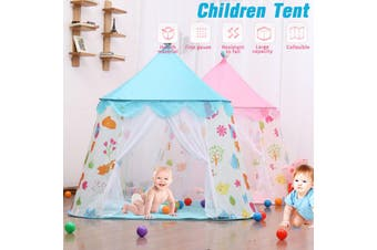 Kids Castle Tent Children Tent Indoor Home Playhouse Game Mini Castle Tent For Kids(Blue Double Door No Balls)