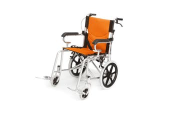 Folding Wheelchair 16 inch Manual Mobility Aid Light Weight 4 brakers(orange)