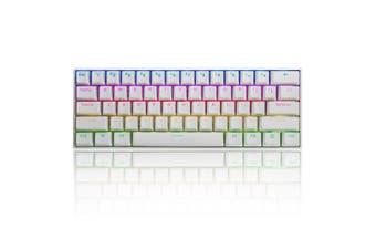 FEKER Gateron 61Keys bluetooth PBT DoubleShot Mode Wired Mechanical Keyboard 1.68 million RGB Backlit Type-C Gaming Keyboard(white)(Blue Switch)