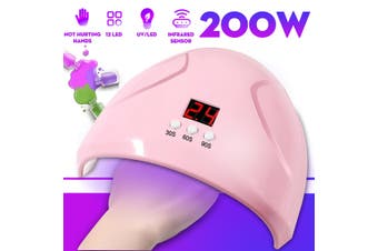 Professional 200W 12LED UV/Sunlight Nail Dryer Lamp Gel Polish Curing Machine(white)(Without Base Tools)