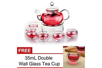 A Set of Heat-resistant Glass Teapot with Strainer Filter Flower Tea Kung Fu Tea Pot Gift 600ml(600ml)