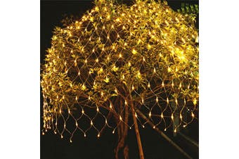Smuxi LED Net Light 1.5M x 1.5M 100 LEDs Fairy Lights EU Plug 220V Christmas Garland Wire LED String Lamp For New Year(warmwhite)(EU Plug)