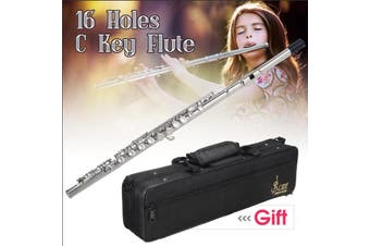 16 Holes C Key Nickel Plated Concert Flute Cupronickel with Bag Screwdriver Set(silver)(flute)