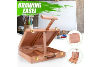 Portable Artist Wood Easels Folding with Drawer Storage Multi-function Sketching Painting Tabletop Box Adjustable