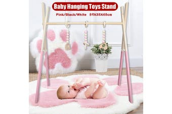 Wood Baby Play Stand Toy Nursery Fun Hanging Toys Mobile Wood Rack Activity Gym(pink)(65X59cm)
