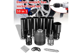 8800mah 72VF 320Nm 0-3500rpm One/Two Li-Ion Rechargeable Battery LED Light Cordless Electric Impact Wrench with Case (Gift: 10pcs Accessories)(ONLY 10pcs Socket Head Set)