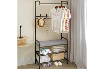 Metal Modern Style Coat Shelf Bags Clothes Cloth Hat Shoe Rack Stand Garment with Hanger Hooks(black)(Type B)