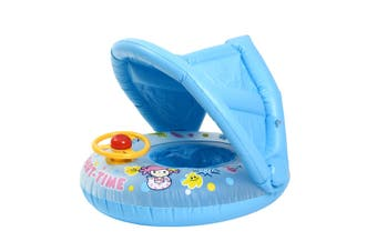 Sunshade Baby Kids Float Seat Boat Inflatable Swim Swimming Ring Pool Water Fun(darkblue)(With Canopy)