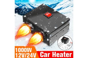 12V 1000W Car Vehicle Heater Rapid Heating Cooling Fan Pro Windscreen Demister Defroster With 2-Outlet(black)(800W 12V)