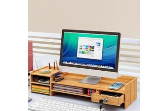 Adjustable Monitor Riser Stand Wooden Keyboard Mouse Holder Desk Organizer Storage(brown)(Without lock)