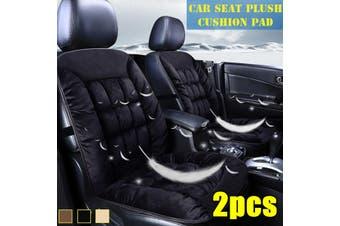 2Pcs Universal Front Car Seat Cushion Comfortable Warm Cover Pad Plush Cotton(black)(2PCS Without Head Part)
