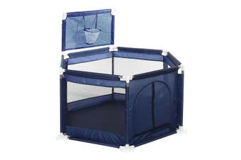 Baby Playpen Kids 6 Panel Safety Play Game Yard Home Indoor Pen Fence(darkblue)