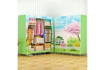 3D Painting Nonwoven Fabric Wardrobes Steel Frame Reinforcement Standing Storage -- Purple / Green / Blue(green)(Type B)